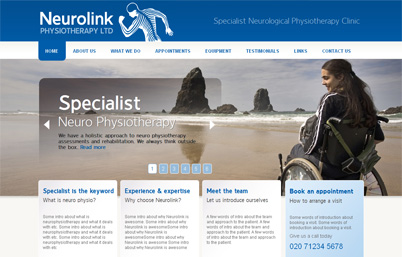 Neurolink Physiotherapy website redesign