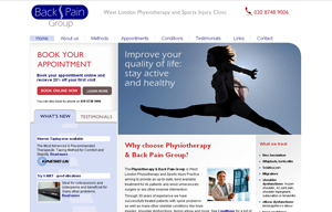 Back Pain and Physiotherapy Group clinic website